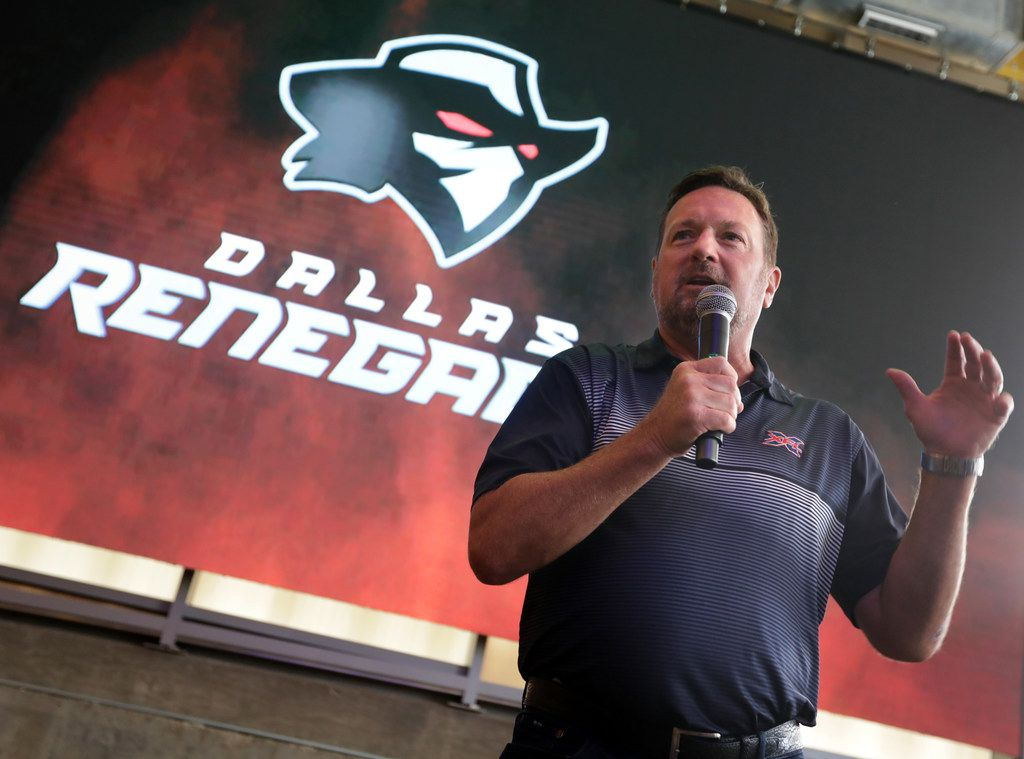 XFL Dallas Renegades head coach Bob Stoops speaks during a press conference at Hero in Dallas, TX, on Aug. 21, 2019. The XFL is an alternative professional football league that begins play in February 2020. (Jason Janik/Special Contributor)