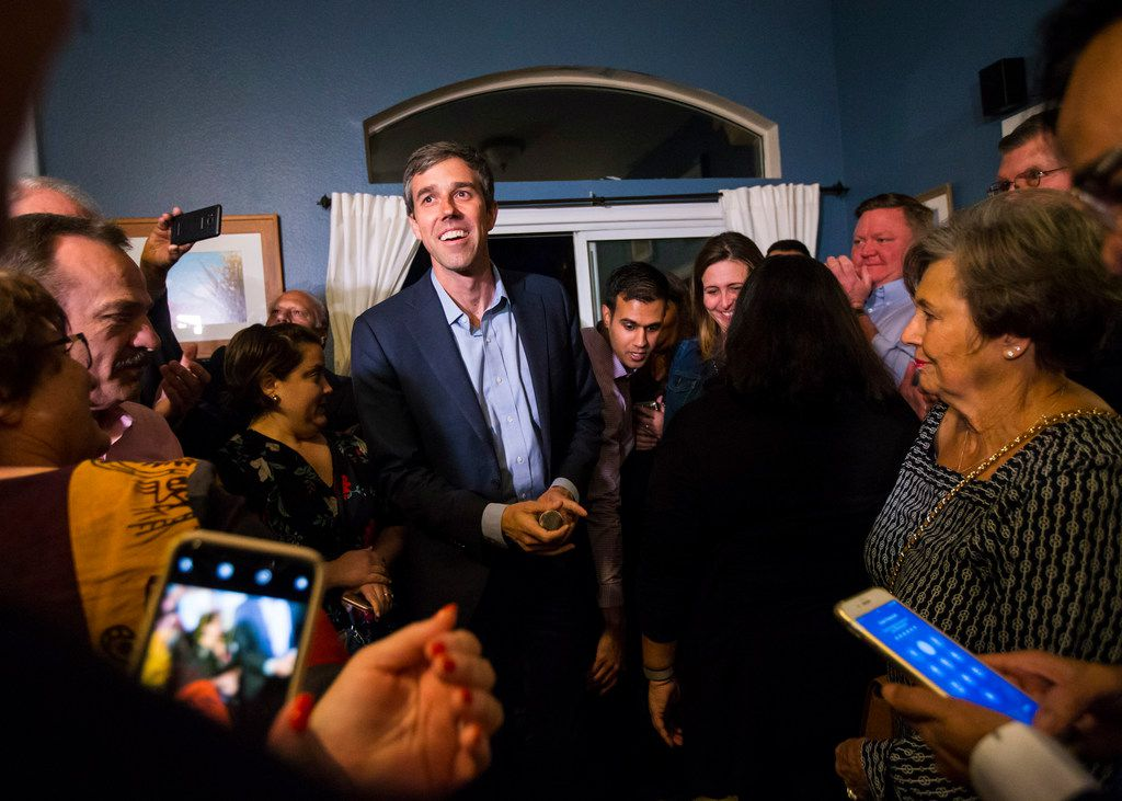 Democratic presidential candidate and former Texas congressman Beto O'Rourke is introduced at a campaign stop at a home in Las Vegas on Saturday, March 23, 2019.