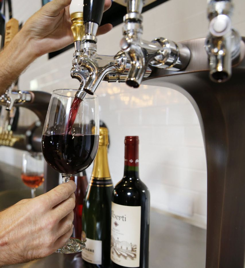 Eight wines are available on tap at the Happiest Hour in Dallas on Thursday, October 8, 2015.