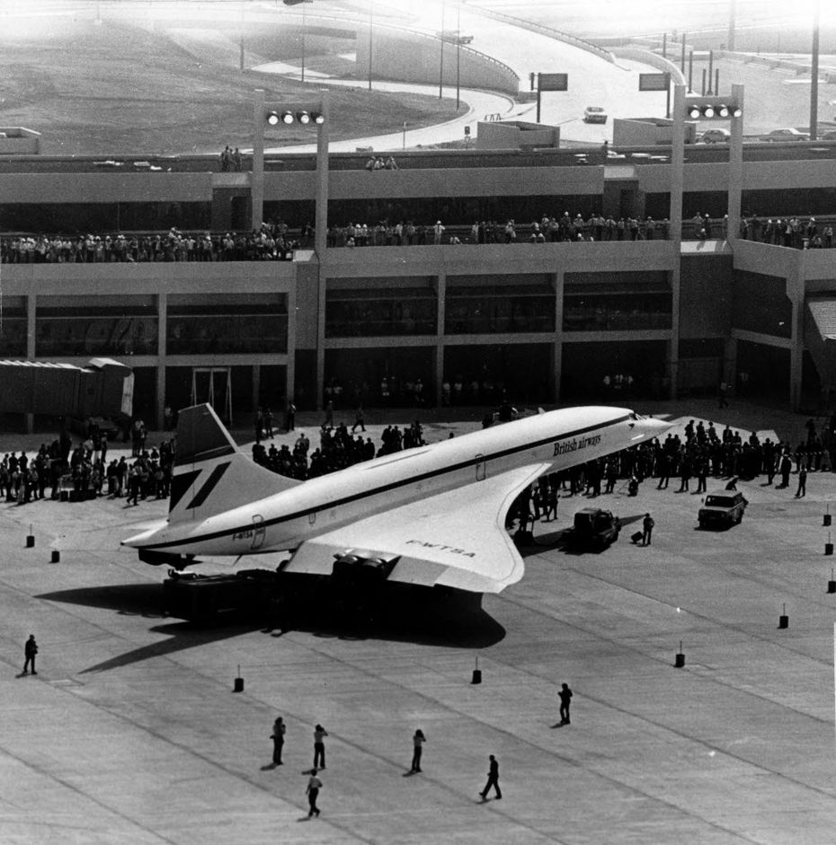 Shot September 20, 1973 - The Concorde supersonic jet, built by Great Britain and France, makes its first United States visit to the new Dallas-Fort Worth Regional Airport for opening day festivities