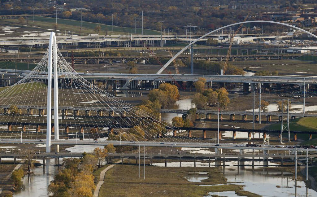 An aerial view looking south of the Calatrava Bridge (foreground) and the Margaret McDermott Bridge in Dallas, TX December 9, 2015.
