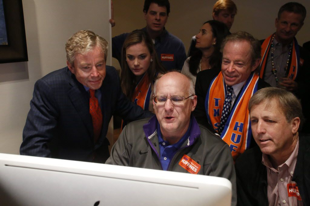 Don Huffines (from left), Deirdre Huffines (daughter), Jim Hairston (treasurer), Phillip Huffines and Bragg Smith look at results in Don Huffines' race against Sen. John Carona for the state Senate in March 2014.