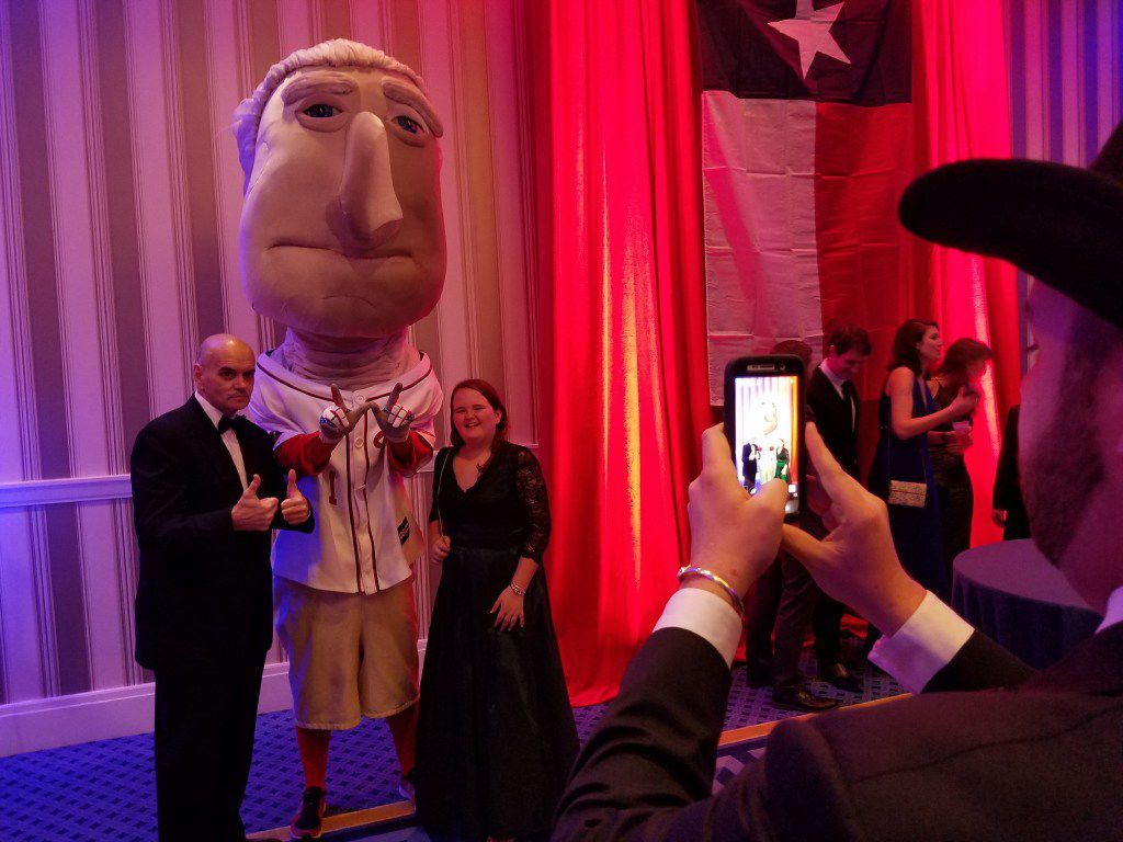 """""""George Washington,"""" a fixture at Washington Nationals game, was a popular attraction at the Black Tie & Boots inaugural ball Thursday, Jan. 19, 2017, at the Gaylord National Resort & Convention Center in National Harbor, Md."""