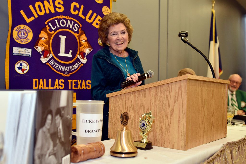 "Bobbie Wygant, 92, long entertainment reporter for NBC 5, laughs as an audience member asks her a question after the Oak Cliff Lions Club's weekly luncheon on Dec. 18 in Dallas. Wygant spoke about her new book ""Talking to the Stars"" and signed copies for fans. Throughout her career, she interviewed celebrities such as Debbie Reynolds, Gene Wilder, Paul McCartney and Bradley Cooper."