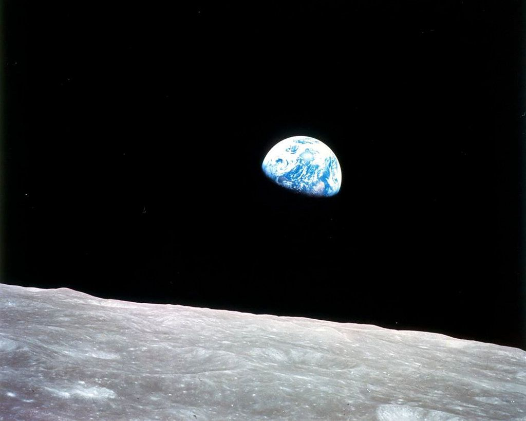 A photo from NASA of the Earth, as seen from the moon, during the Apollo 8 mission, Dec. 24, 1968.