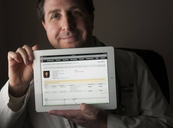 Dr. Robert Abbate, an internal medicine physician, also runs OneTouchEMR, which developed an iPad app for implementing and managing electronic medical records.