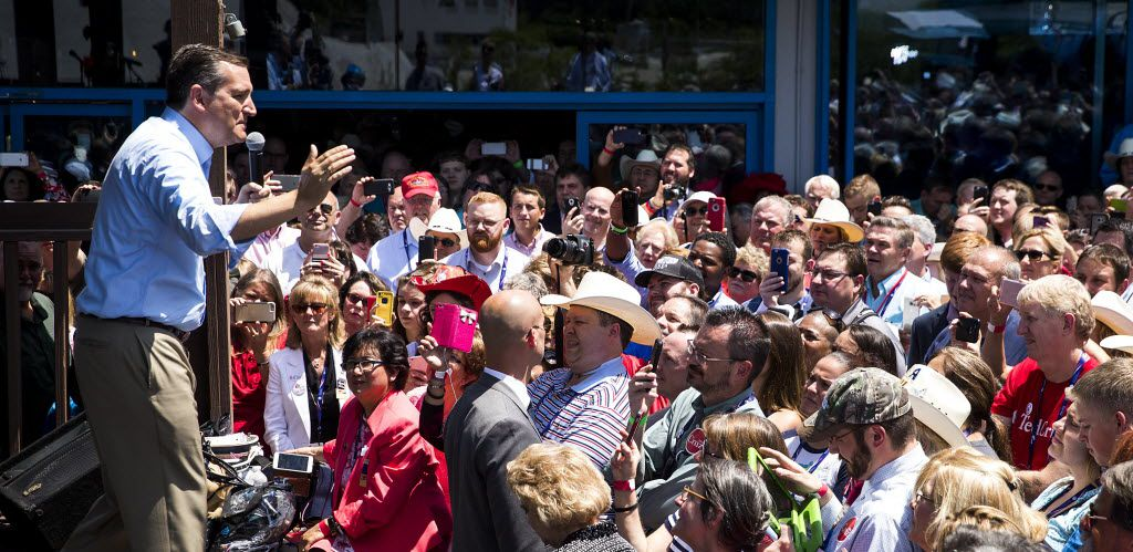 """Texas Sen. Ted Cruz addressed supporters during a """"thank you"""" event on the third day of the Republican National Convention on Wednesday in Cleveland. (Smiley N. Pool/Staff Photographer)"""