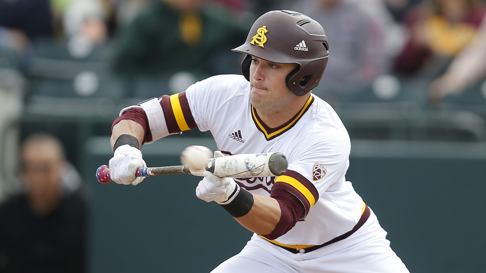Arizona State outfielder Hunter Bishop during an NCAA college baseball game against Notre Dame, Sunday, Feb. 17, 2019, in Phoenix. (AP Photo/Rick Scuteri)