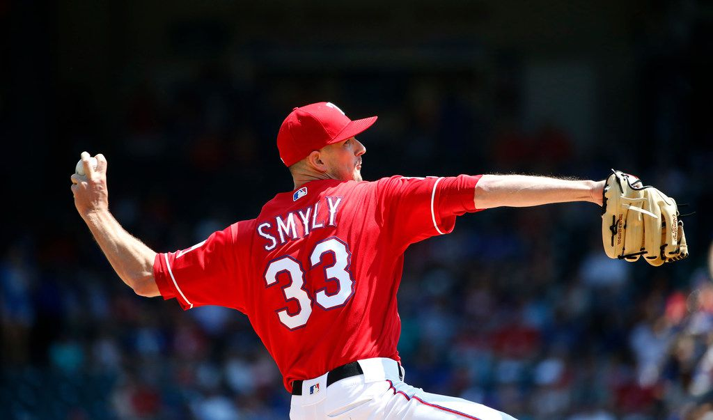 ARLINGTON, TX - JUNE 9: Drew Smyly #33 of the Texas Rangers pitches against the Oakland Athletics during the first inning at Globe Life Park in Arlington on June 9, 2019 in Arlington, Texas. (Photo by Ron Jenkins/Getty Images)