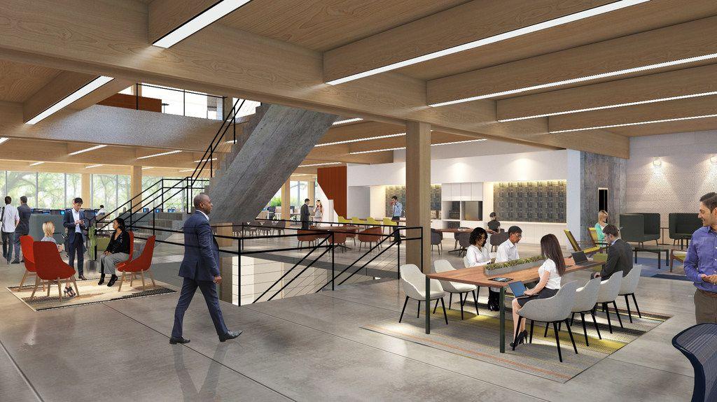 Walmart is planning a new headquarters campus in Bentonville, Arkansas. Rendering of interior work space.