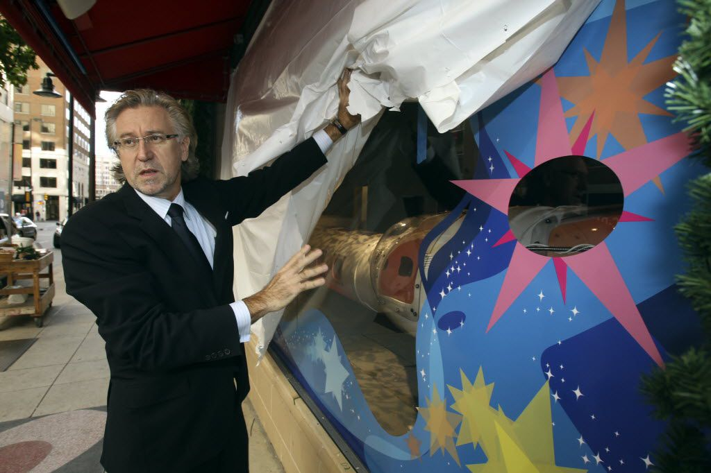 Ignaz Gorischek, former head of visual store design for Neiman-Marcus, is pictured with some of the windows under construction at the downtown Dallas store  in 2010.