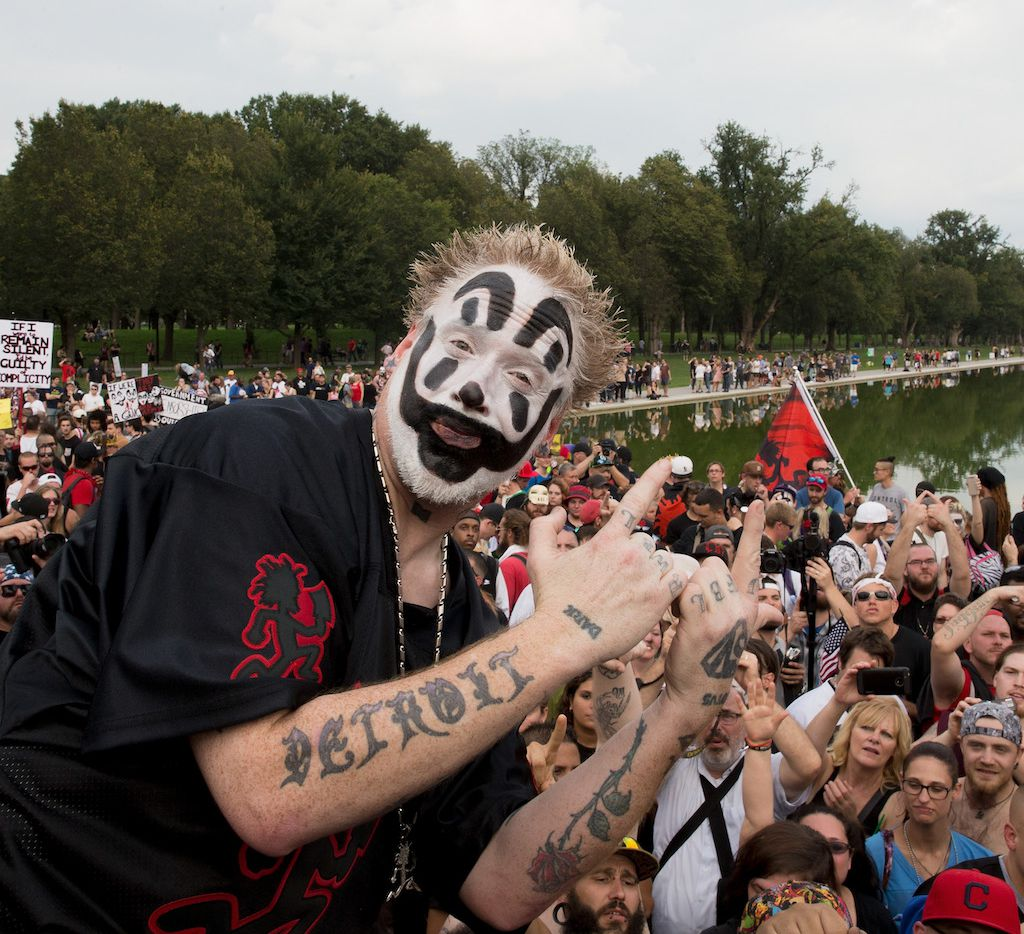 Violent J of Insane Clown Posse poses before the Juggalo March takes off from the Lincoln Memorial on the National Mall, on Sept. 16, 2017, in Washington, DC.
