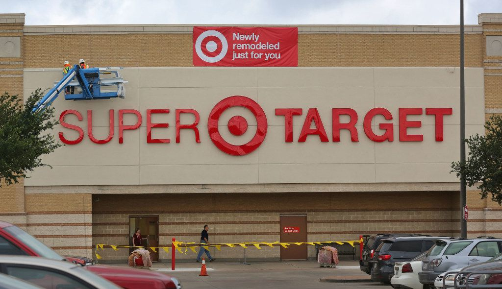 Crews put the finishing touches on the remodel at the Target store at Coit and Campbell in north Dallas, photographed on Tuesday, June13, 2017. (Louis DeLuca/The Dallas Morning News)