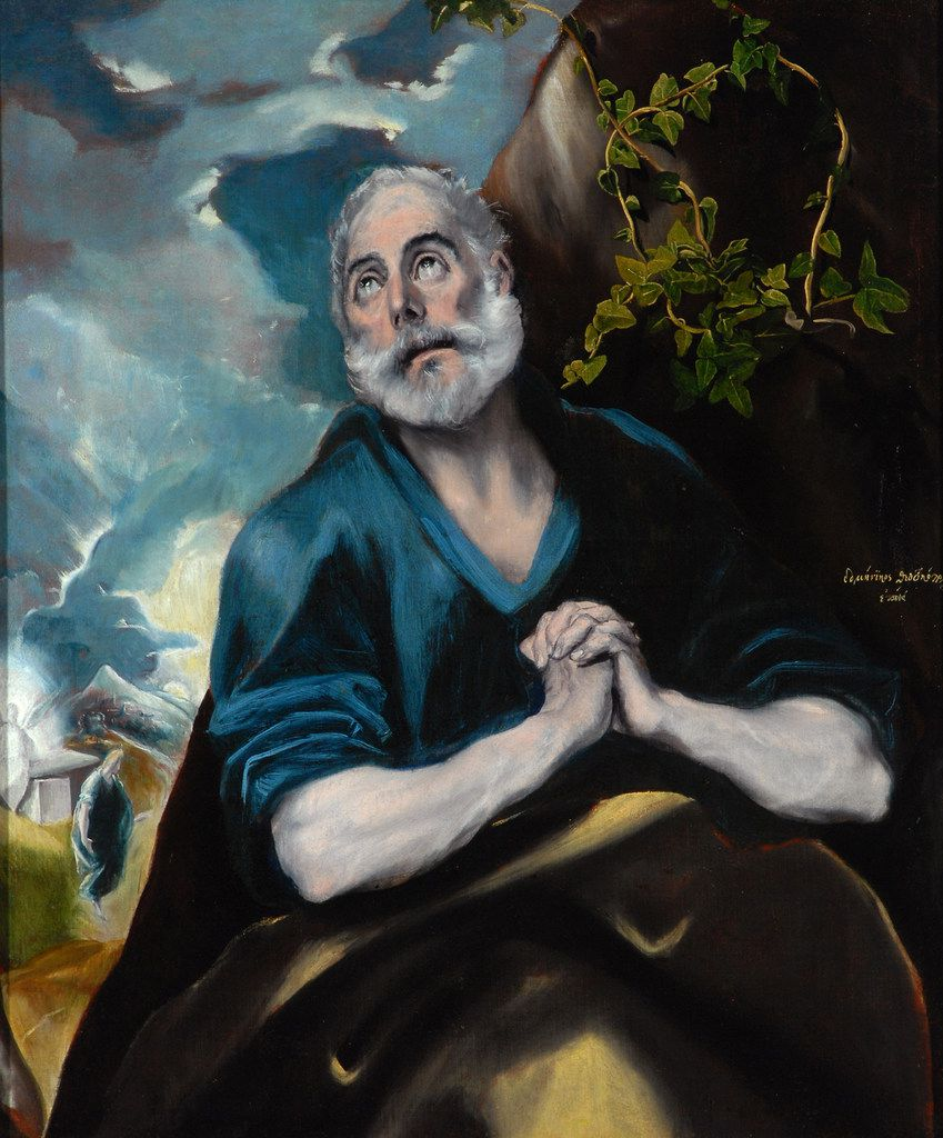 "El Greco (Domenikos Theotokopoulos), (Greek, 1541 1614), The Tears of Saint Peter, 1580s. Oil on canvas. The work is part of ""El Greco, Goya and a Taste for Spain: Highlights From the Bowes Museum,"" an exhibit through Jan. 12, 2020, at the Meadows Museum at SMU."