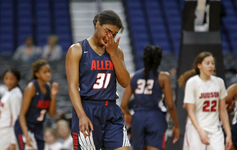 Allen's Nyah Green walks away late in the game. Judson v Allen in 6A semi-finals on Friday March 1, 2019 at the Alamodome in San Antonio,Texas. ( Ron Cortes/ Special Contributor) ORG XMIT: 10043970A
