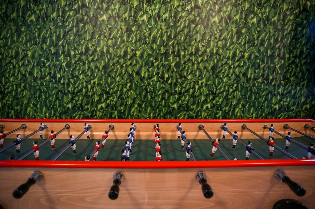 Eight person foosball is seen at Punch Bowl Social on Thursday, June 27, 2019 in Dallas. (Ryan Michalesko/The Dallas Morning News)