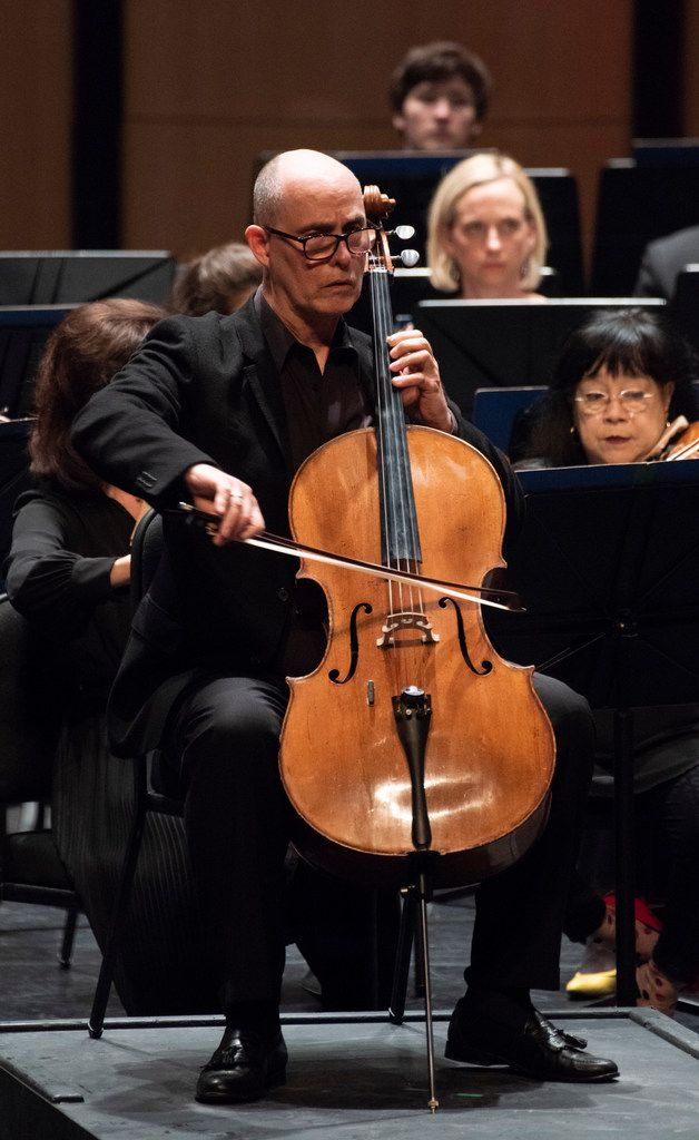 Cellist Christopher Adkins performs Tchaikovsky's Pezzo capriccioso, Op.62 with the Dallas Symphony Orchestra, led by music director Jaap van Zweden, on May, 10, 2018.