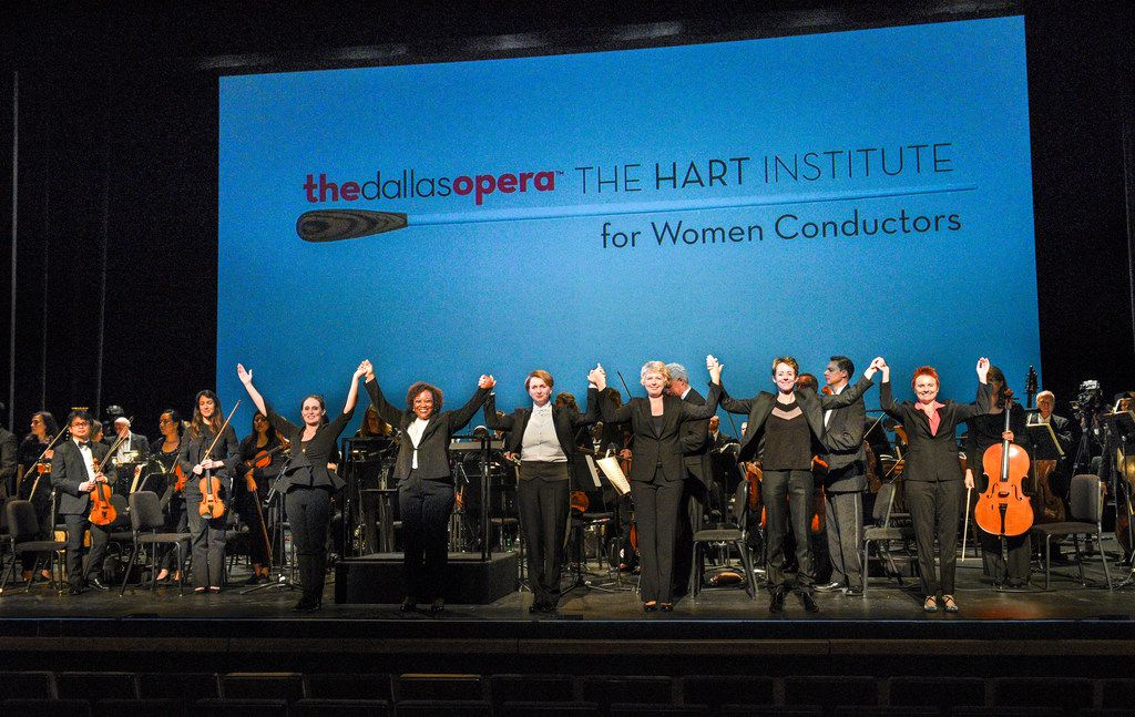 (From left) Lina Gonzalez-Granados, Alba Bomfim, Monika Wolinska, Karin Hendrickson, Mélisse Brunet and Carolyn Watson take a bow during the Dallas Opera's Hart Institute for Women Conductors.