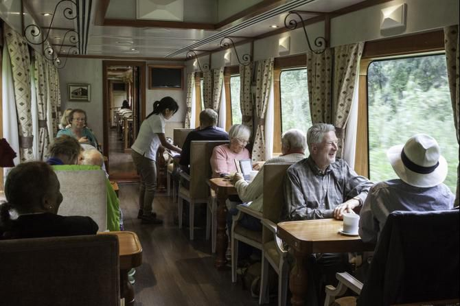 Tren Crucero is a luxury tourist train that takes passengers on a four-day journey from the Andes to the Pacific.