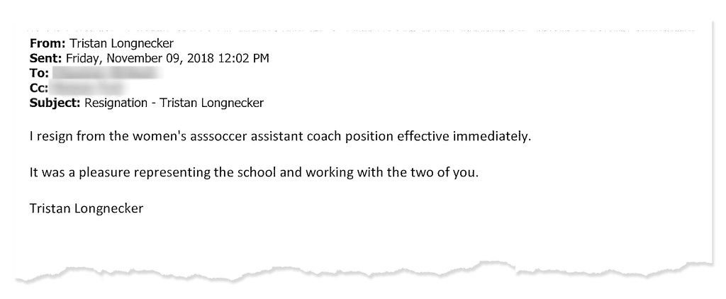 After Shepherd University in West Virginia told women's soccer coach Tristan Longnecker of sexual abuse allegations against him, he resigned.