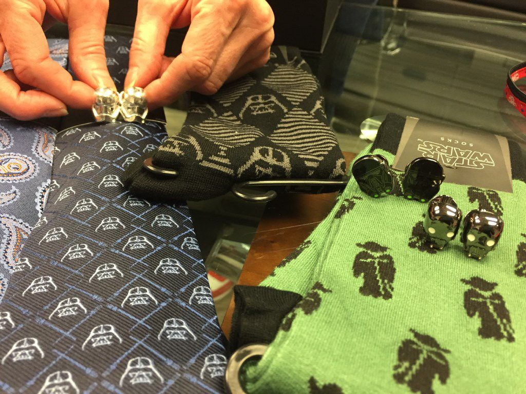 Dallas-based Cufflinks Inc. has the license to make Star Wars men's and boy's accessories. These ties and cufflinks came out for the 2016 release of the Rogue One: A Star Wars Story will be released on Dec. 16, 2016. The company supplies major retailers including Neiman Marcus and Nordstrom.
