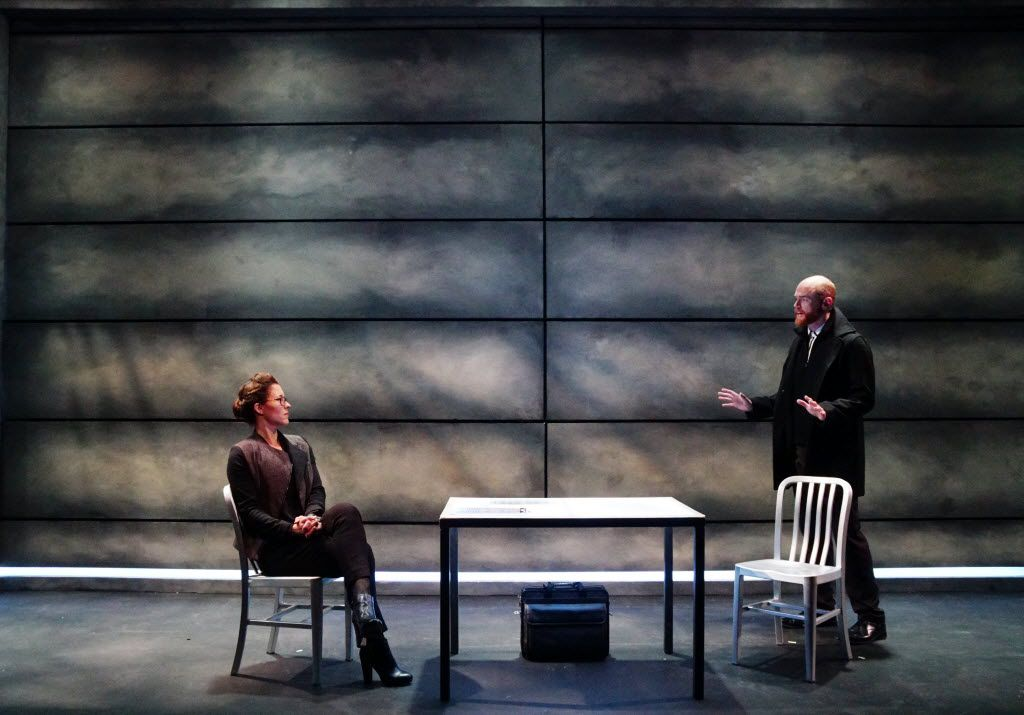 Allison Pistorius plays a detective and Aaron Roberts a virtual reality mastermind in Jennifer Haley's 'The Nether.' Stage West is producing the Texas premiere of this 2015 off-Broadway show through April 10 at Stage West in Fort Worth.  Photo by Lawrence Jenkins/Special Contributor for The Dallas Morning News.