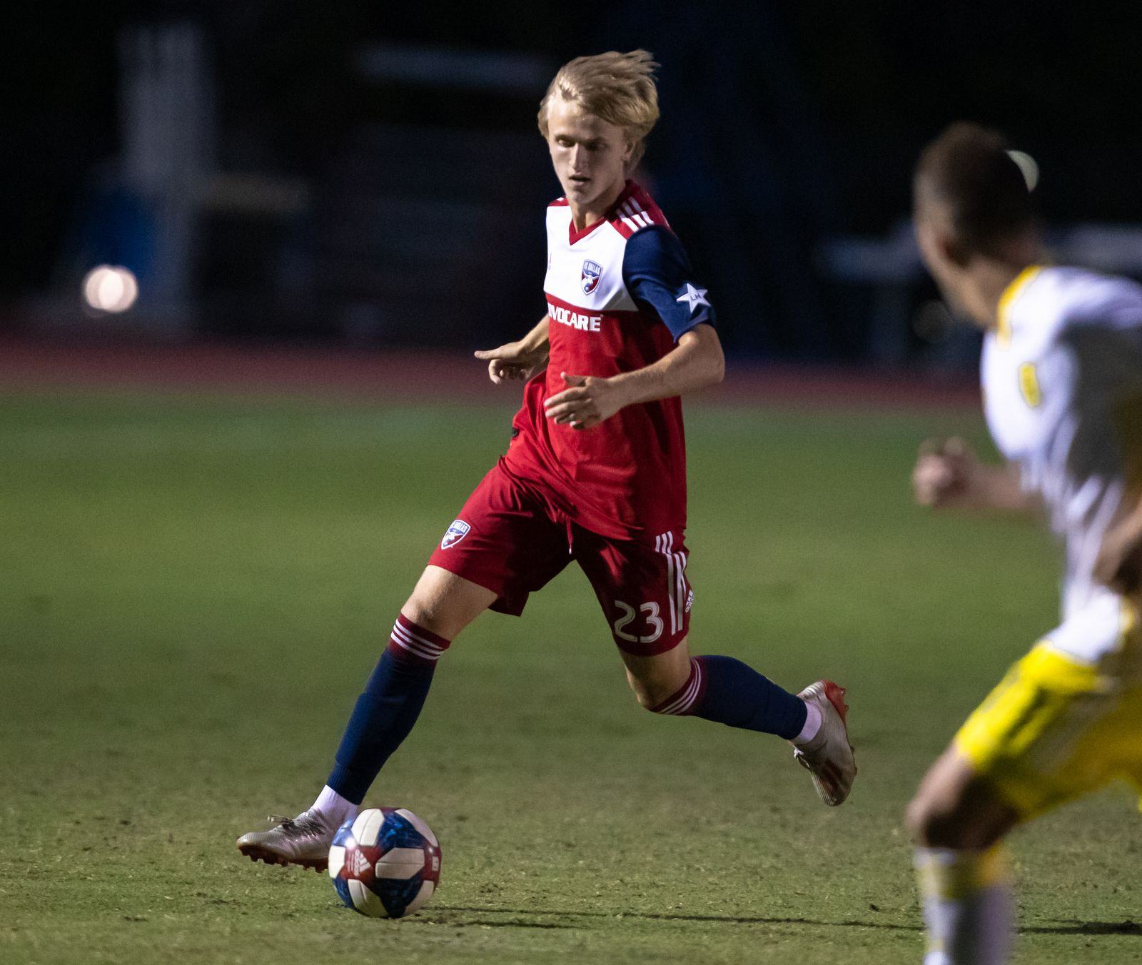 DALLAS, TX - JUNE 19: Thomas Roberts in action during the Lamar Hunt U.S. Open Cup round of 16 soccer game between FC Dallas and New Mexico United on June 19, 2019 at Westcott Field in Dallas, Texas.  (Photo by Matthew Visinsky)
