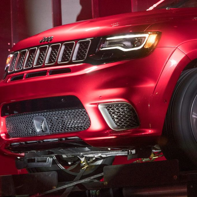 A detail of the Jeep 707-horsepower Grand Cherokee Special.