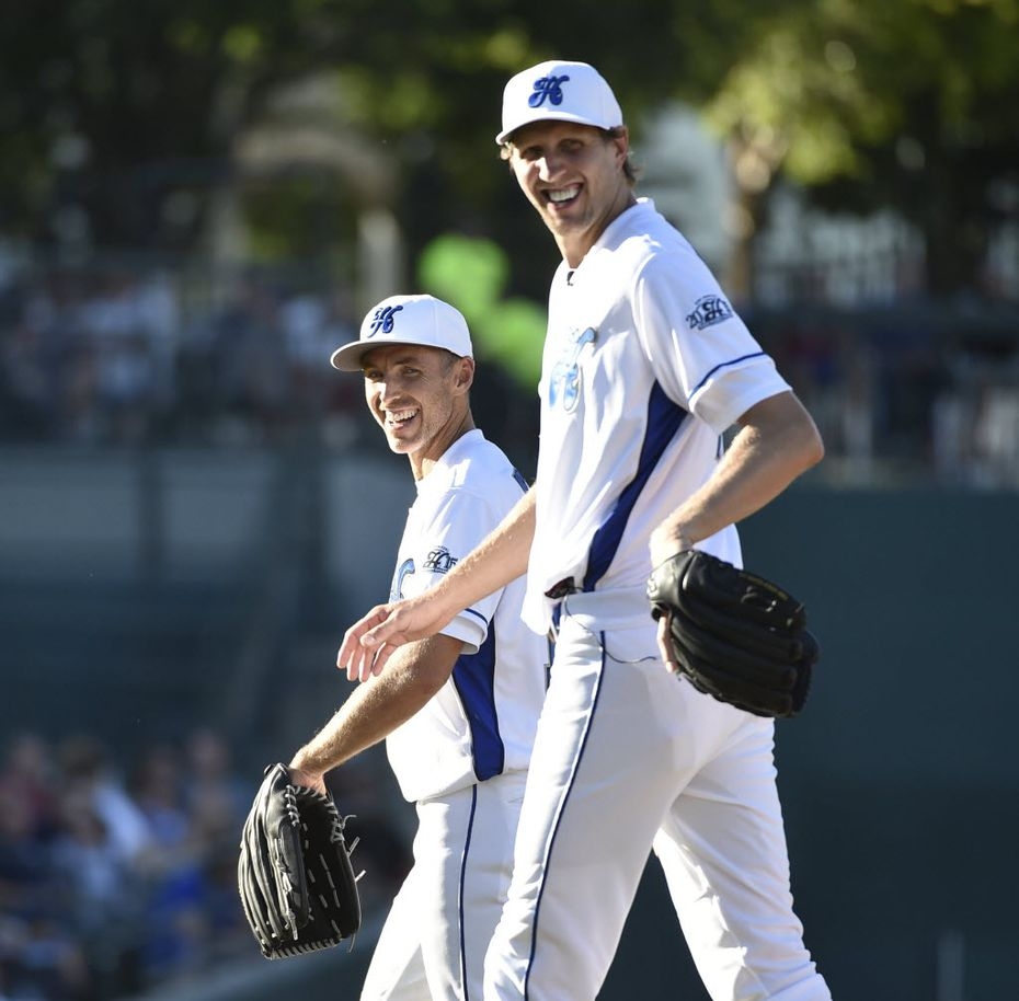 Steve Nash and his buddy at Dirk Nowitzki's Heroes Celebrity Baseball Game at Dr. Pepper Ballpark in Frisco in June (Michael Ainsworth/Staff photographer)