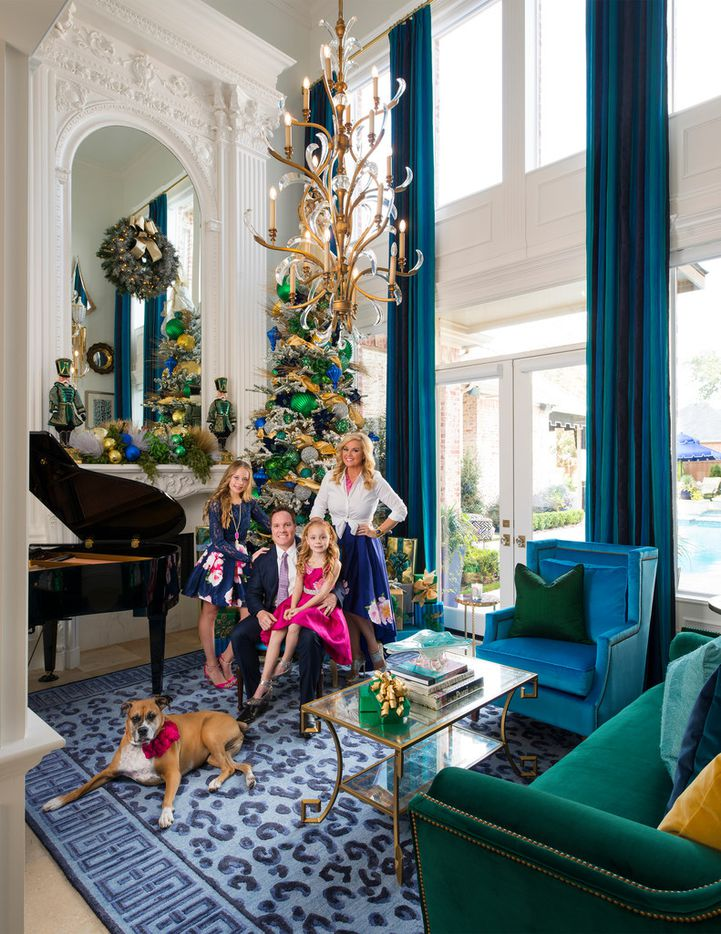 Designer Shay Geyer's living room is featured on the cover of Christmas by Design. Geyer shares the well-appointed home with her husband Brian, daughters Jaylie and Brooklyn and dog Roxy.