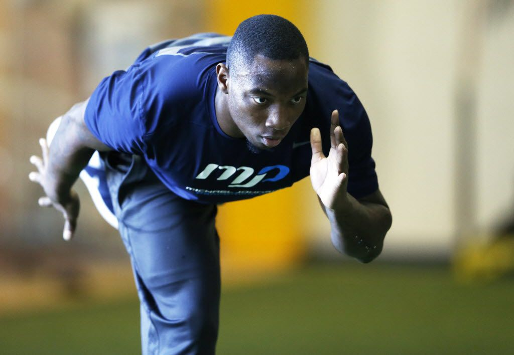 Derrick Kindred works on an exercise during a workout at Michael Johnson Performance Center in McKinney on Monday, February 15, 2016. Kindred is preparing for next week's NFL Scouting Combine. (Vernon Bryant/The Dallas Morning News)
