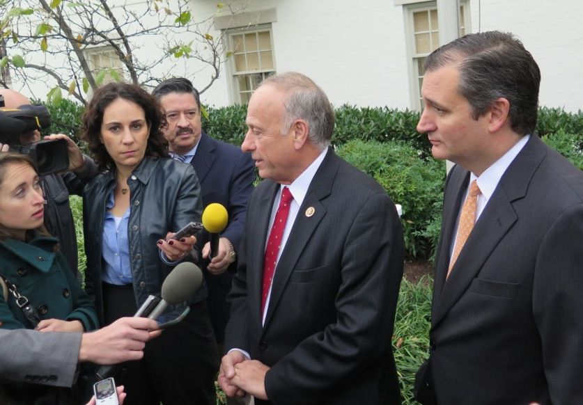 Sen. Ted Cruz and Rep. Steve King spoke with reporters outside the Capitol Hill Club in 2015.
