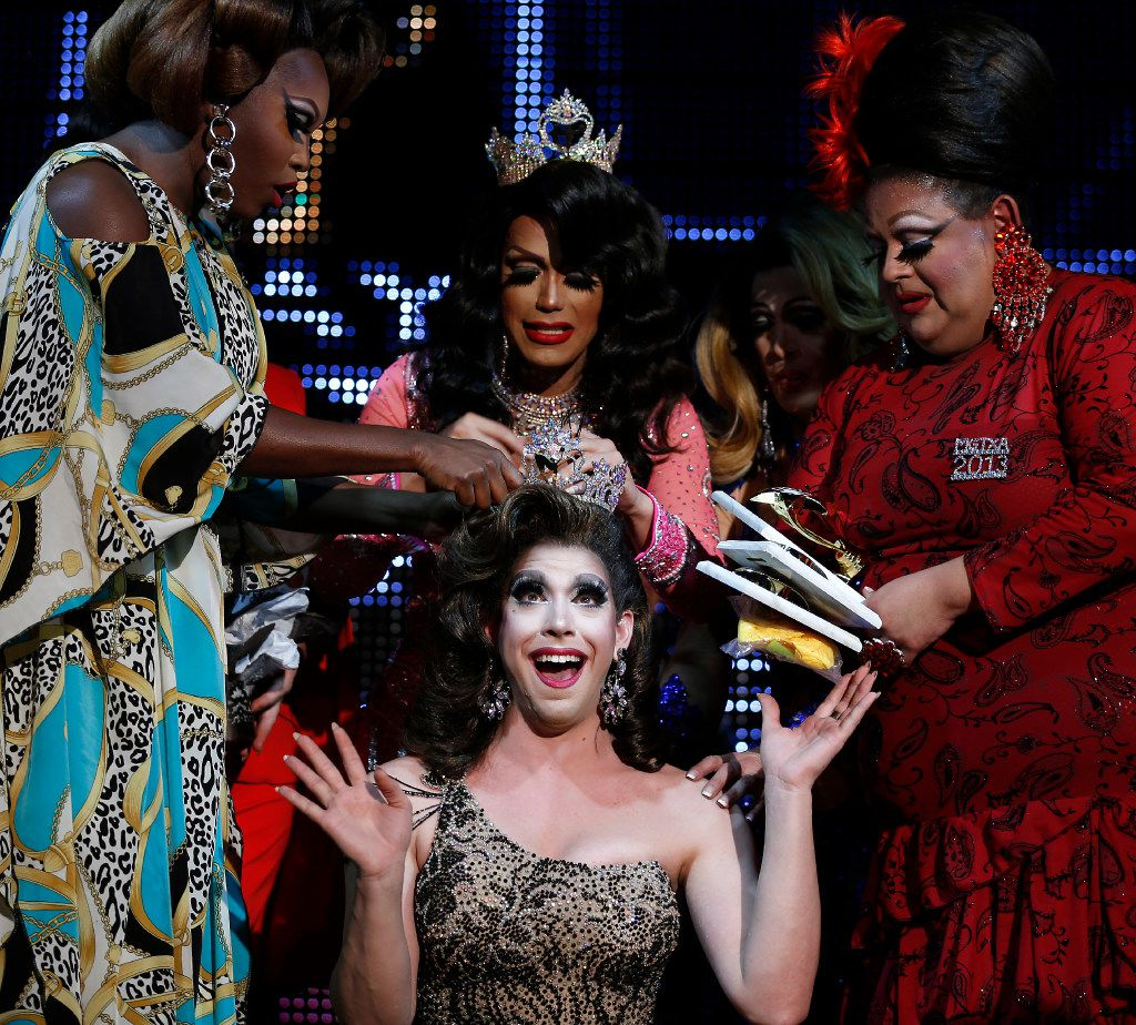 Sofia Anderson uses plenty of bobby pins to affix the Miss Gay Texas America crown to Violet S'Arbleu's wig.