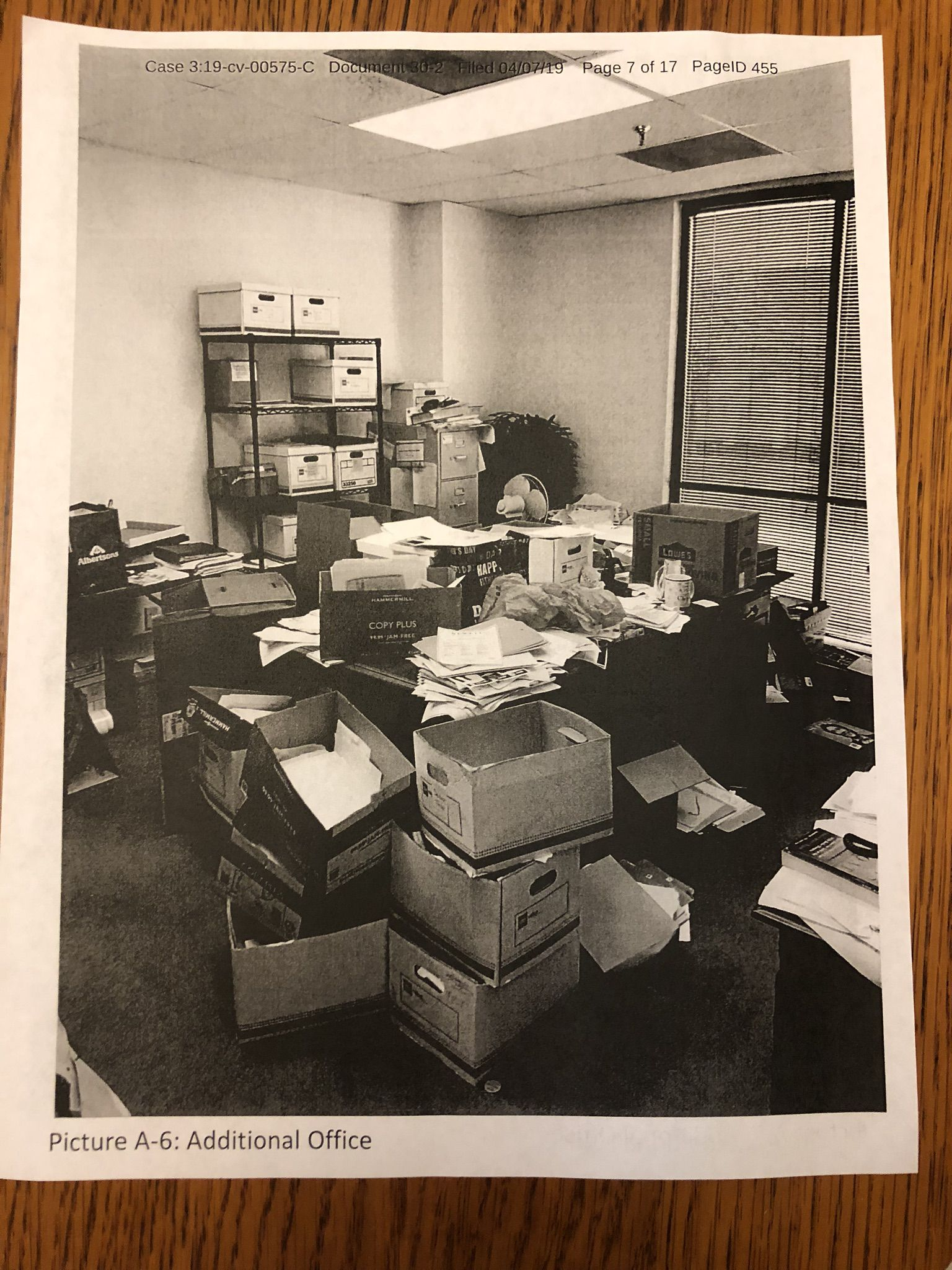 "This court exhibit photo shows Gallagher's storage room. His employees told regulators that Gallagher's records were always in ""disarray,"" according to a court filing."