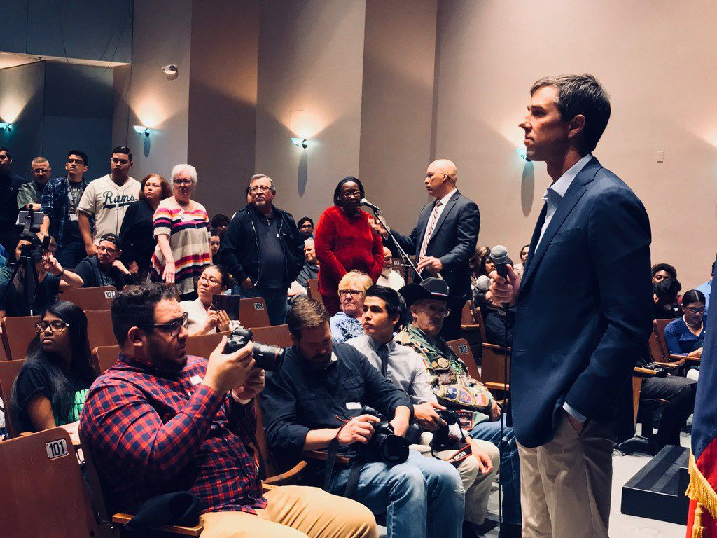 Rep. Beto O'Rourke, D-El Paso, believes his roots in his hometown shaped and prepped him for his uphill race against Republican Sen. Ted Cruz. He met constituents at Montwood High School in El Paso on Feb. 20, 2018.