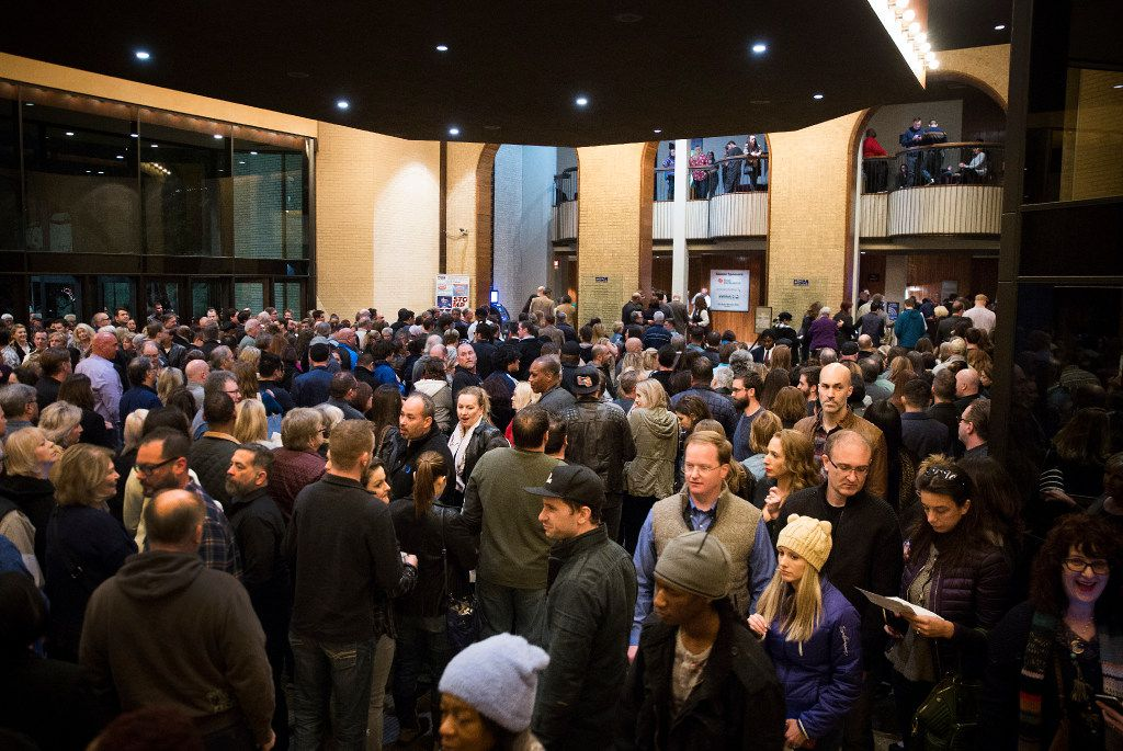 Patrons waited to enter Fair Park Music Hall for a performance by comic Bill Maher, just before it was announced that the show had been postponed. (Smiley N. Pool/Staff Photographer)