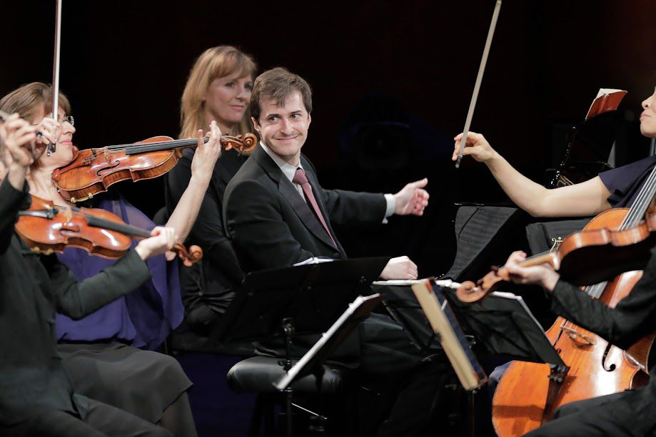 Pianist Kenneth Broberg performs with the Brentano String Quartet in the Final Round of the Van Cliburn International Piano Competition on Wednesday.