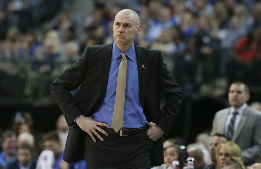 Dallas Mavericks head coach Rick Carlisle looks on from the sidelines during the first half of an NBA basketball game against the LA Clippers in Dallas, Saturday, Dec. 2, 2017. (AP Photo/LM Otero)