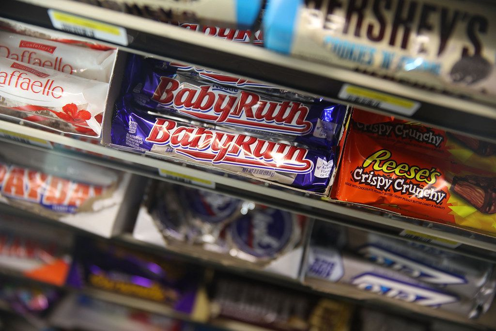 MIAMI, FL - JANUARY 16:  Nestle BabyRuth bars are seen on a store shelf, the day the company announced plans to sell its US candy business on January 16, 2018 in Miami, Florida. Nestle has agreed to sell its U.S. confectionery business to Italy's Ferrero for $2.8 billion.  (Photo by Joe Raedle/Getty Images)