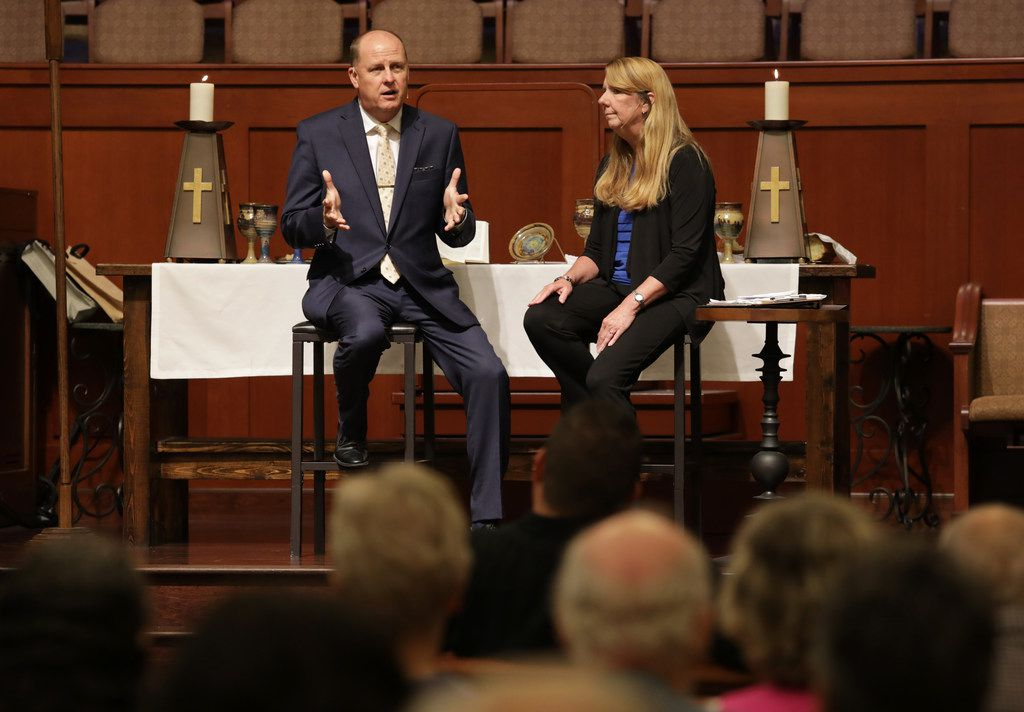 Pastor Billy Echols-Richter, left, and Executive Pastor Laura Echols-Richter speak during a service at Grace Avenue United Methodist Church in Frisco.