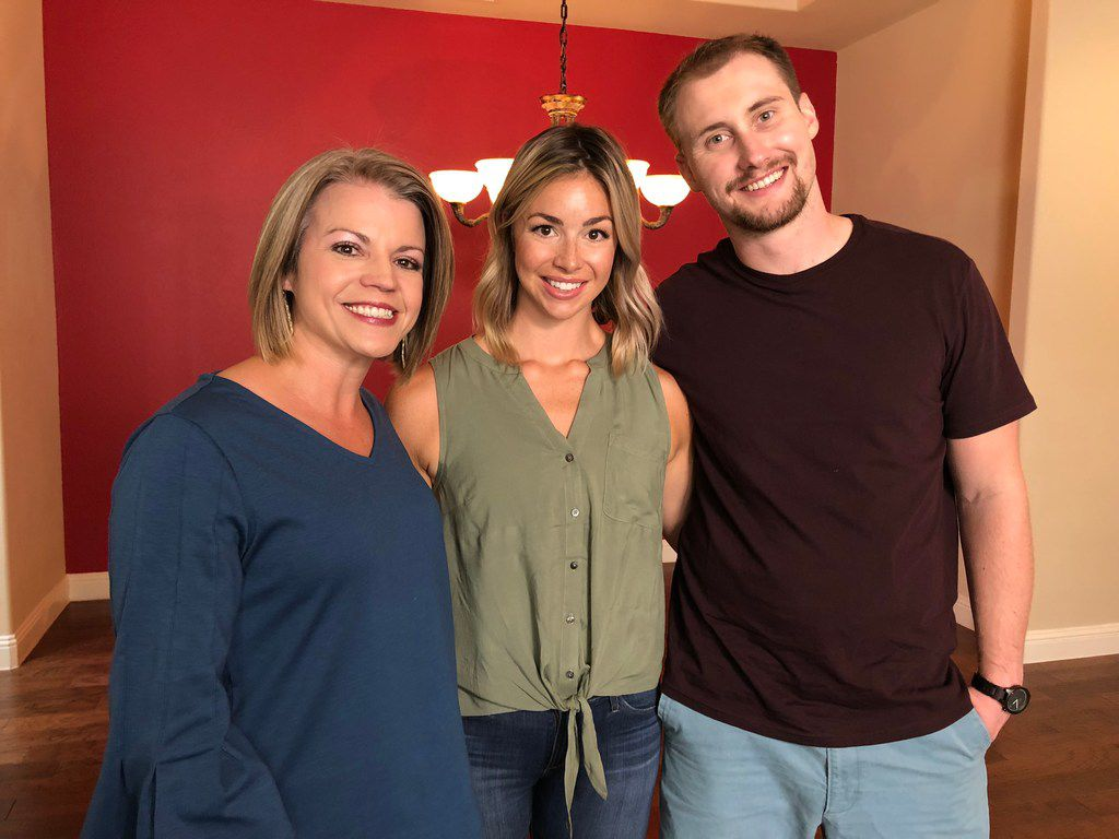 Leslie Remy, Anna Bentrude and Jacob Bentrude pose for a photo during the filming of HGTV's 'House Hunters' in McKinney, TX on July 28, 2018.