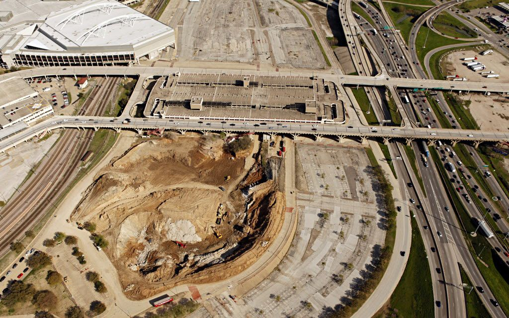 Aerial view of the hole in the ground and lot that formerly held Reunion Arena with I-35 on the right side of the frame and part of Dallas Convention Center on the upper left of the frame, taken on March 26, 2010.