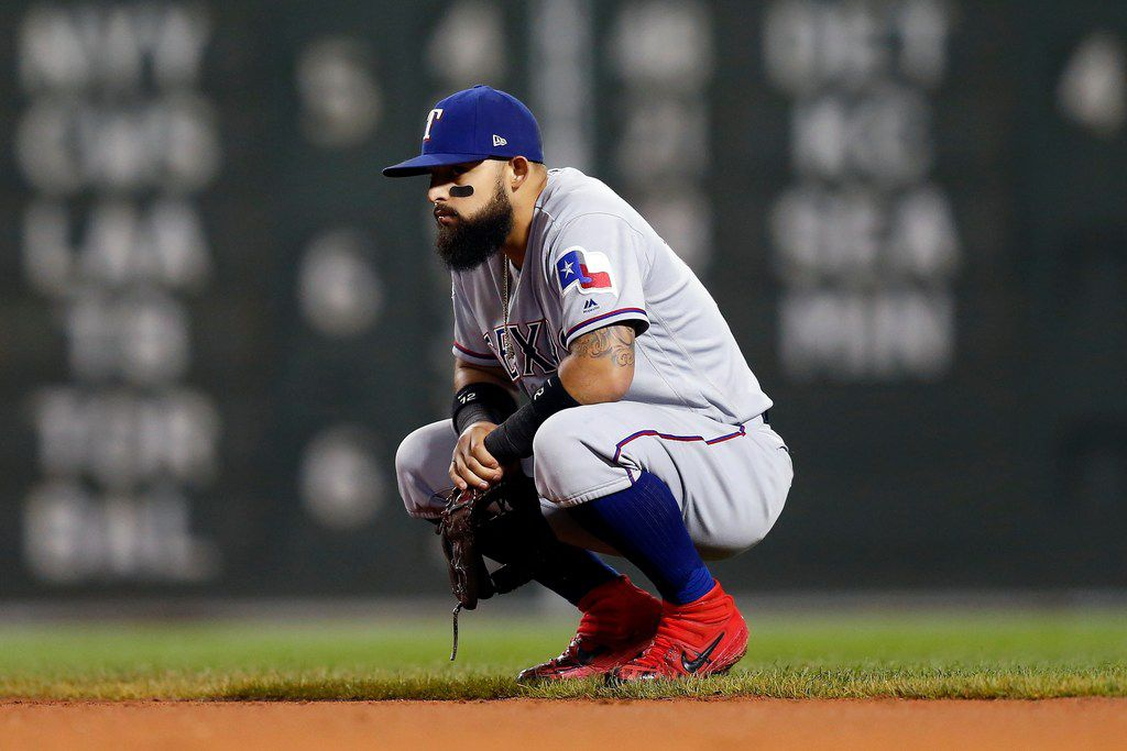 Texas Rangers' Rougned Odor waits between pitches during the sixth inning of a baseball game against the Boston Red Sox in Boston, Thursday, June 13, 2019. (AP Photo/Michael Dwyer)
