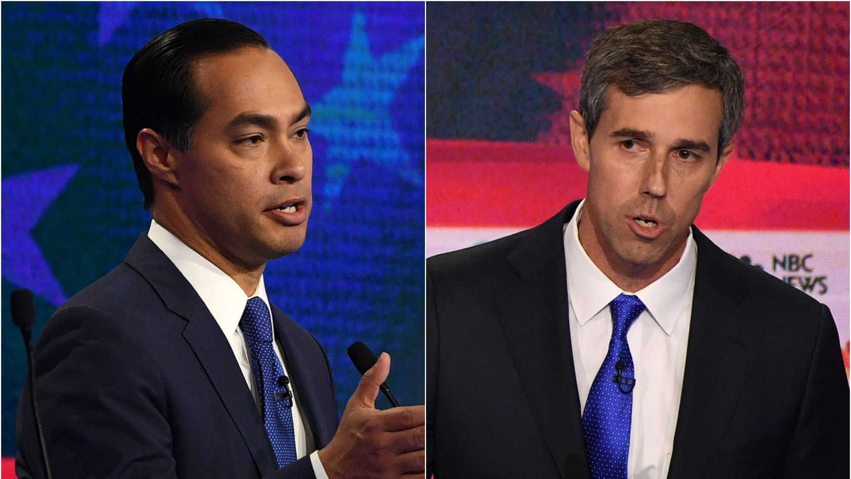 Democratic presidential hopefuls Julian Castro and Beto O'Rourke during the first Democratic primary debate of the 2020 presidential campaign season, hosted by NBC News at the Adrienne Arsht Center for the Performing Arts in Miami on June 26, 2019.