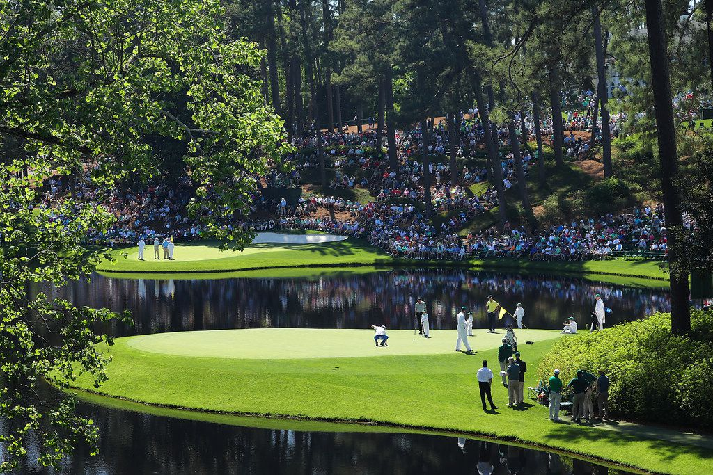 AUGUSTA, GEORGIA - APRIL 10: A general view of the eighth and ninth green are seen during the Par 3 Contest prior to the Masters at Augusta National Golf Club on April 10, 2019 in Augusta, Georgia. (Photo by David Cannon/Getty Images)