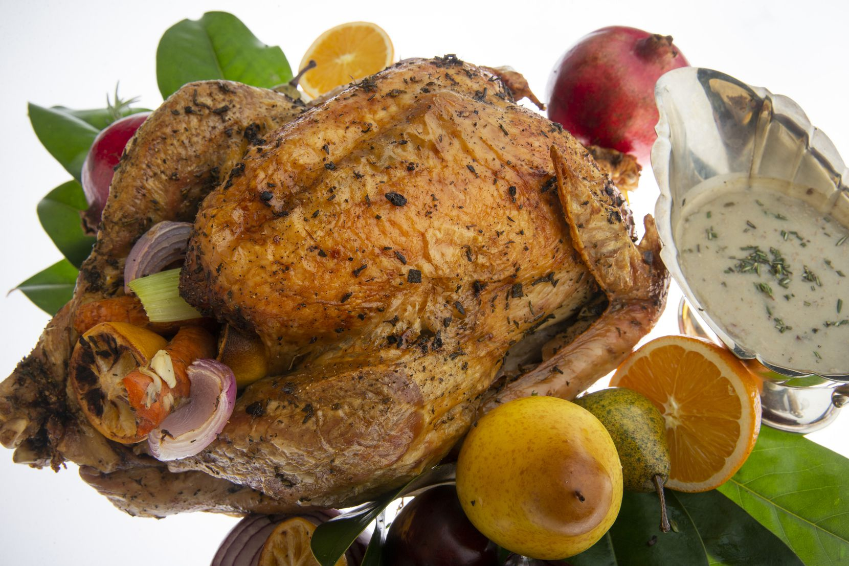 Turkey is prepared with Mediterranean herbs and olive oil.