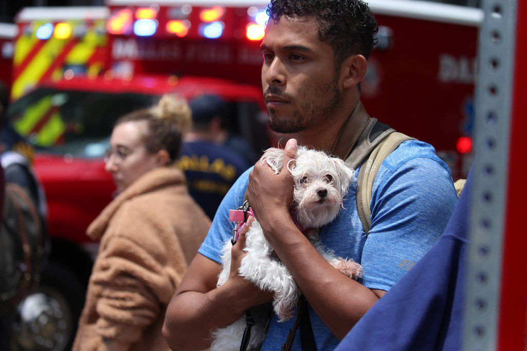 Isaiah Allen, a resident of the damaged apartments, holds onto a dog, Princess, as he watches officials respond to a scene after a crane collapsed into Elan City Lights apartments in Dallas on Sunday, June 9, 2019.