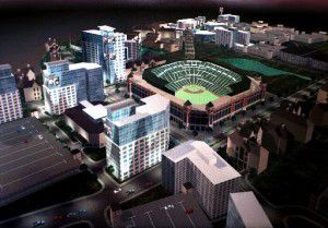 Rendering of proposed mixed-use development next to the Texas Rangers ballpark in the early 2000s.