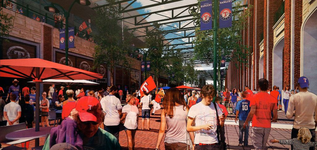 An artist rendering of the new Texas Rangers ballpark shows pedestrian areas. The team announced Thursday that Dallas-based HKS has been selected to design the new stadium, which is scheduled to open in 2020.