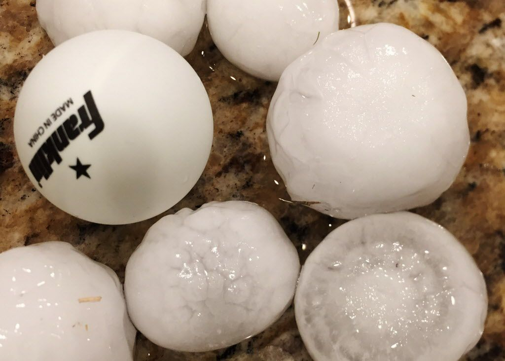 Hail next to a ping pong ball from a hail storm in Frisco on Sunday, March 26, 2017.